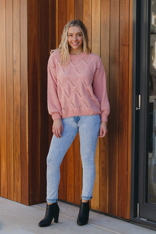Diamond Cable knit Salmon