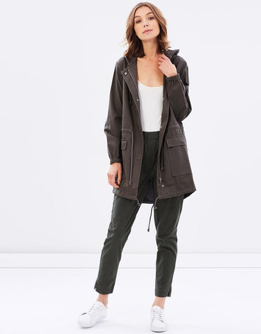Baxter Cotton Parka - Khaki - Debbie Lee Fashions