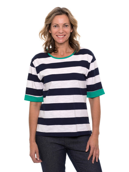 Contrast Trim Ink Stripe Tee - Debbie Lee Fashions