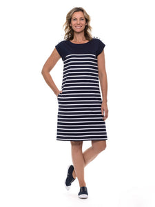 Button Trim Stripe Dress - Debbie Lee Fashions