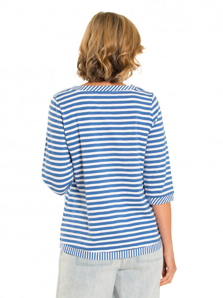 3/4 Slv Stripe Tee - Debbie Lee Fashions