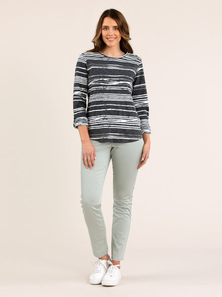 Rough Stripe Tee Pewter - Debbie Lee Fashions