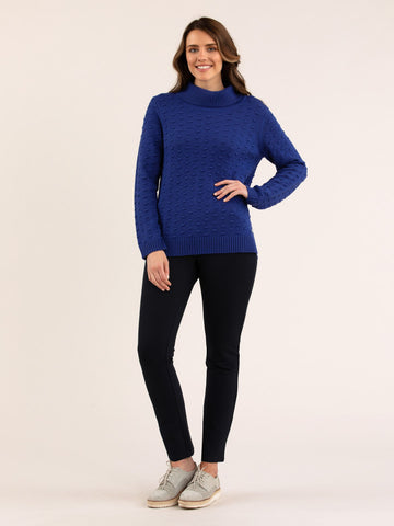 Bobble Knit Jumper Lapis Blue - Debbie Lee Fashions