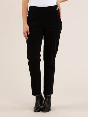 Diagonal Cord Pull On Pant Black