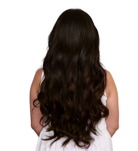After back transformation dark brown clip-in hair extension