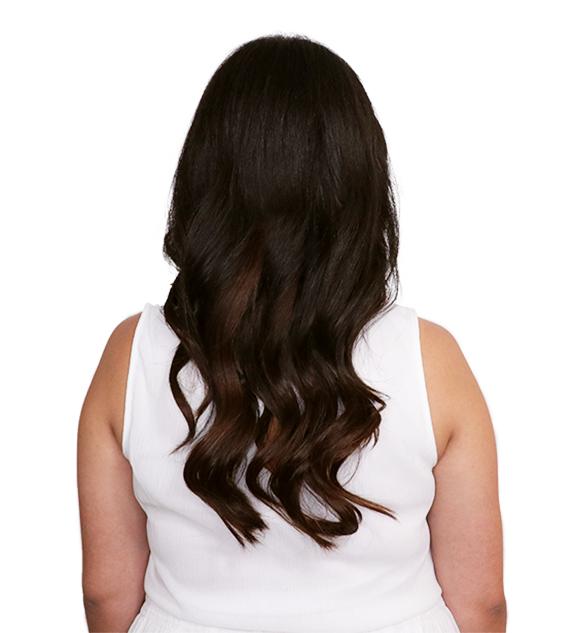 Before back transformation dark brown clip-in hair extension