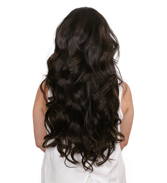 After back transformation coffee brown clip-in hair extensions
