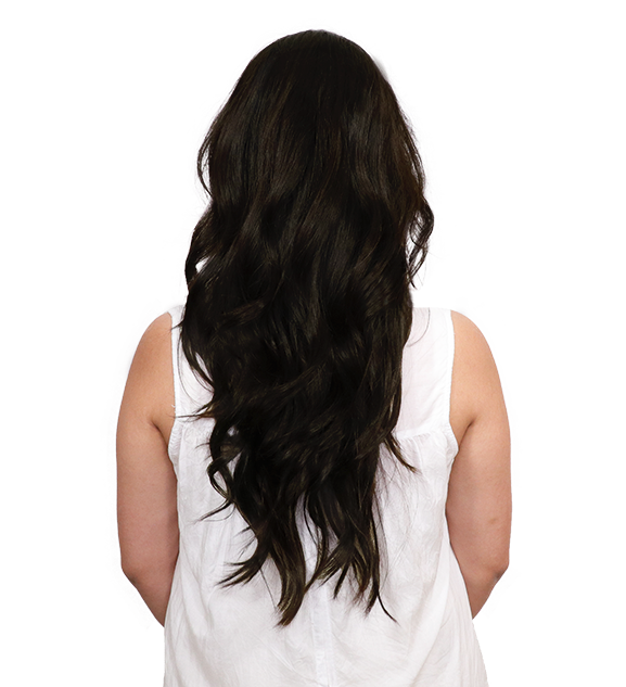 Before back transformation coffee brown clip-in hair extensions