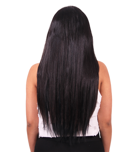 After back transformation off black clip-in hair extensions