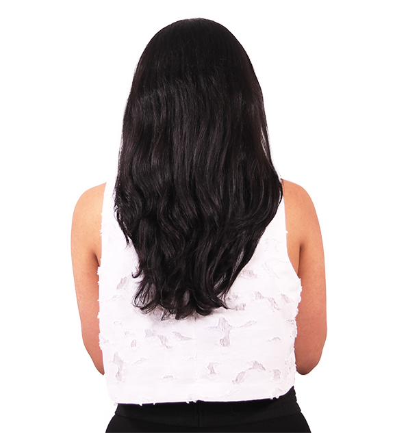 Before back transformation off black clip-in hair extensions