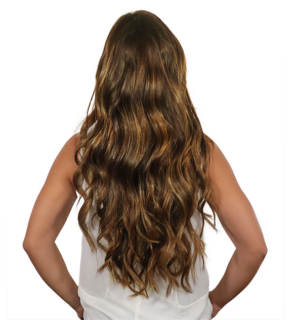 After back transformation chestnut brown clip-in hair extensions