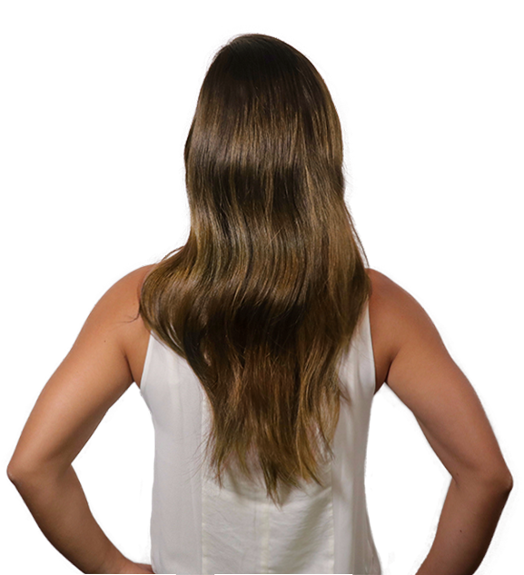 Before back transformation chestnut brown clip-in hair extensions