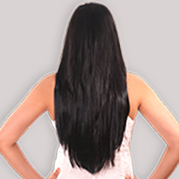 clip-in hair extensions in 160 grams, 20 inches in coloured off black (1B)