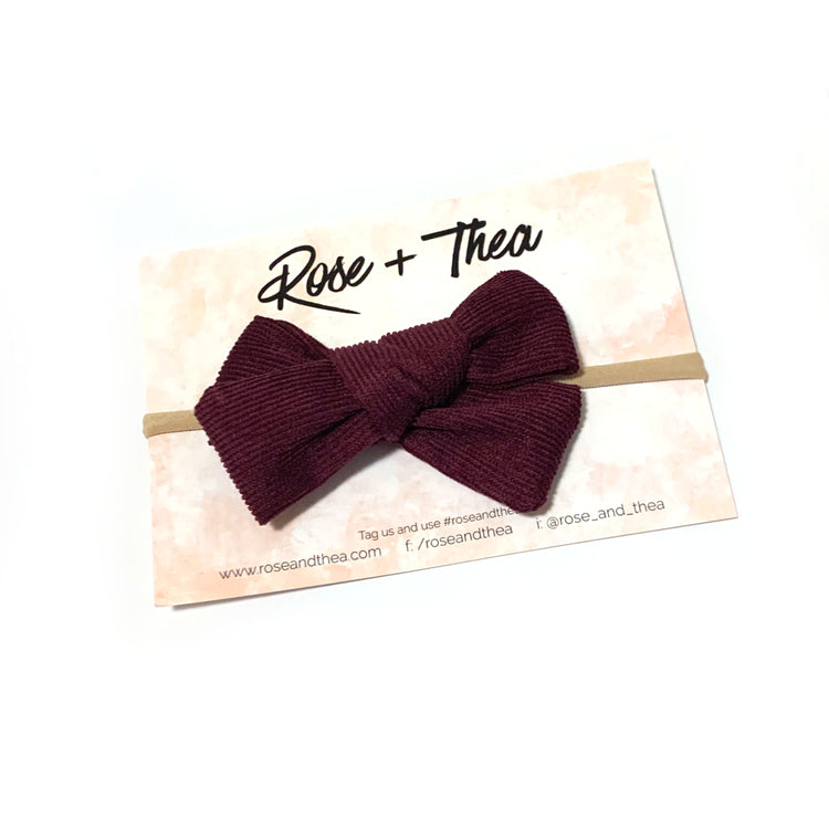 Plum Corduroy Bow Headband