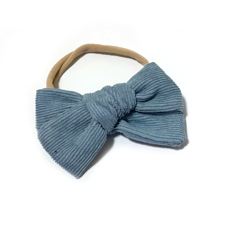 Steel Blue Corduroy Bow Headband