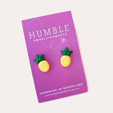 Pineapple Polymer Clay Stud Earrings