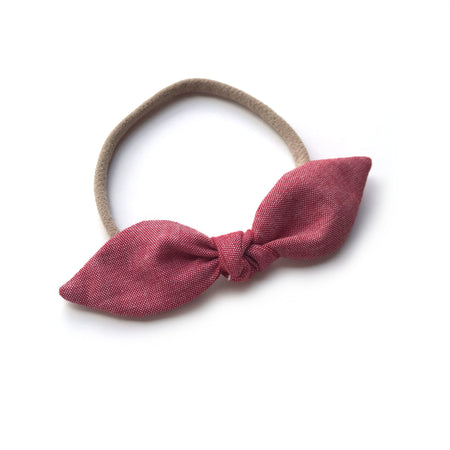 Red Nylon Bow Headband