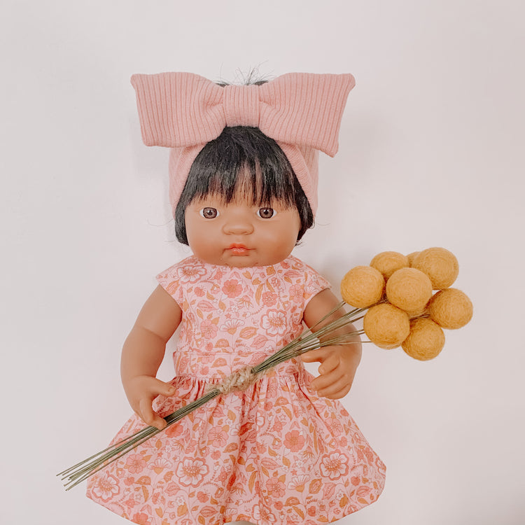 Doll Bow Topknot - Blush