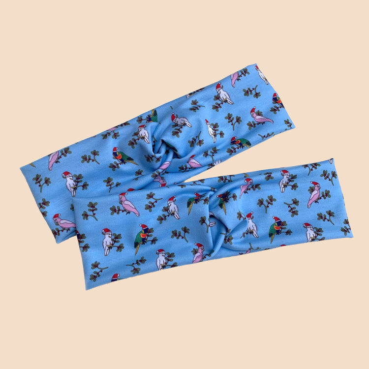 Aussie Christmas Birds Twist Topknot Headbands