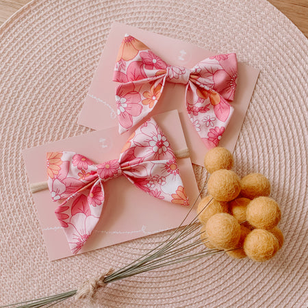 Retro Floral Sailor Bow