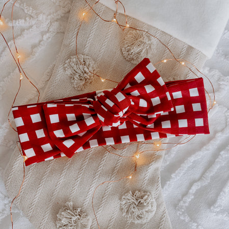Christmas Gingham Head Tie
