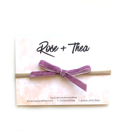 Lilac velvet ribbon bow on nylon headband