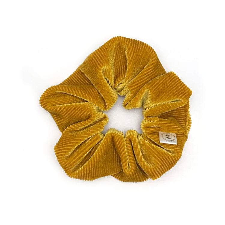 Deluxe mustard toned velvet scrunchie, handmade in south australia by Rose and Thea