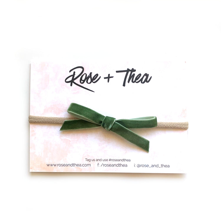 Olive Velvet Ribbon Bow on a nylon stretchy headband