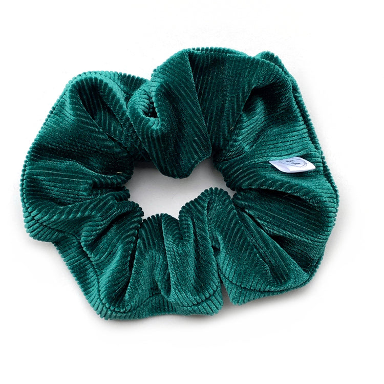 emerald green velvet scrunchie, handmade by Rose and Thea