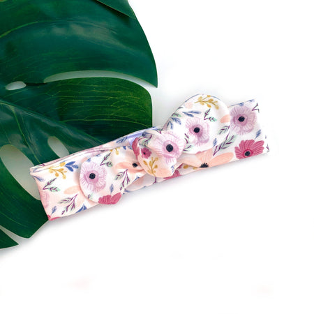 Pastel Floral Classic Bow Knot headband for infants Australia
