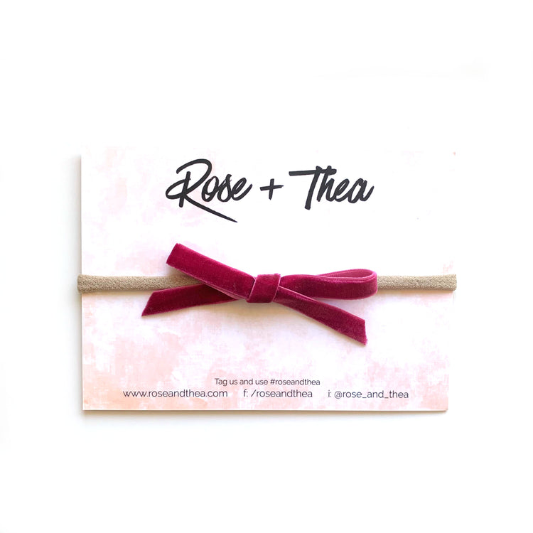 berry velvet ribbon bow on a nylon headband