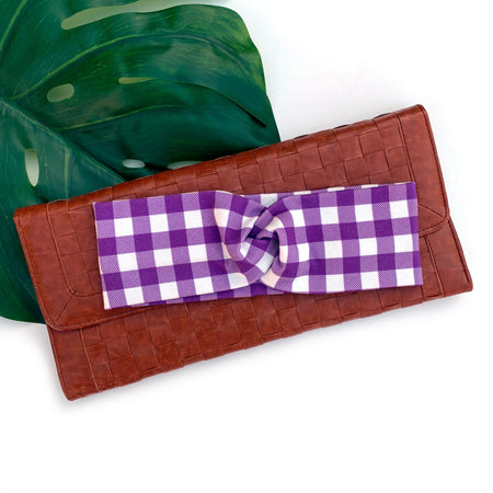 Purple and White gingham twist adult topknot headband Australia