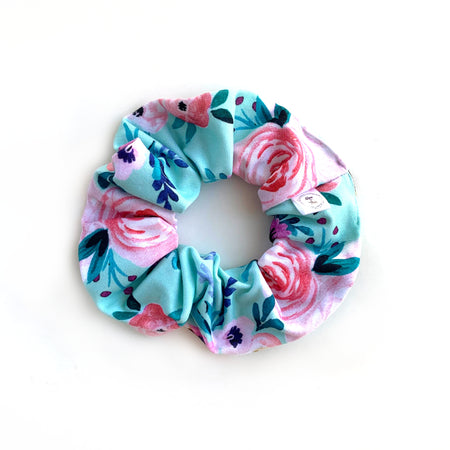 Mint Floral Scrunchie