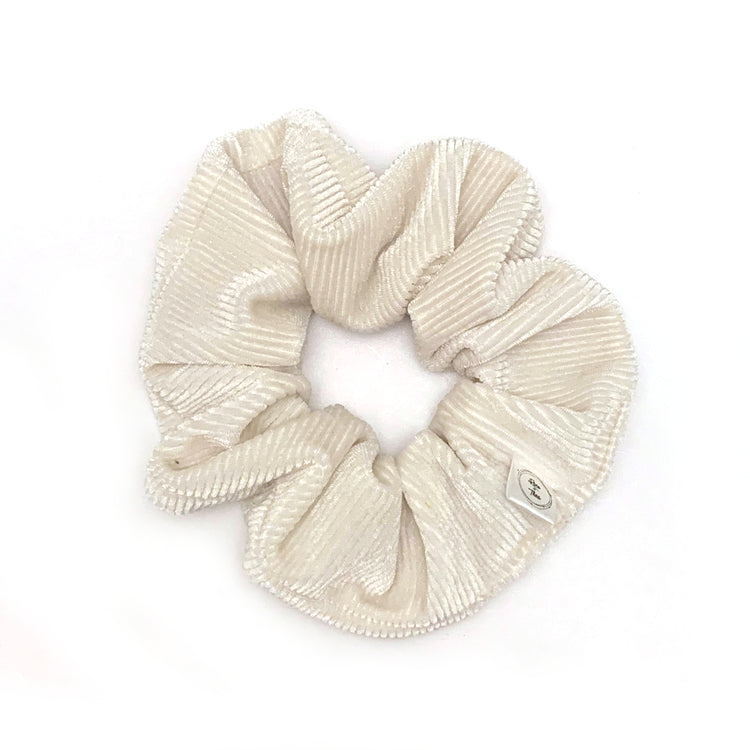 White velvet scrunchie by Rose and Thea