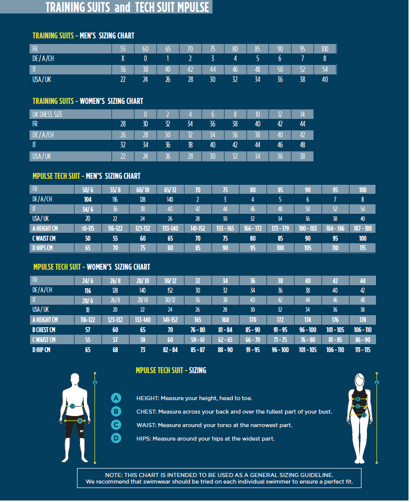 Michael Phelps Swimsuits, M-PULSE Size Chart