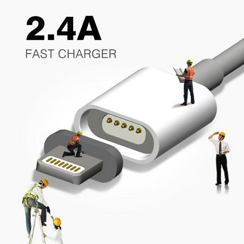2.4A Charging Magnetic Cable For Samsung Apple iPhone 5 5s 6 6s 7 Plus iPad Mobile Phone Magnet Charger Micro USB Charge Cable