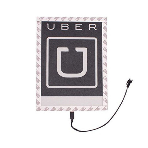Blue UBER Illuminated Glowing Decal for Rideshare Drivers