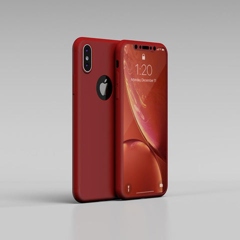 360° кейс за Apple iPhone XS - Червен