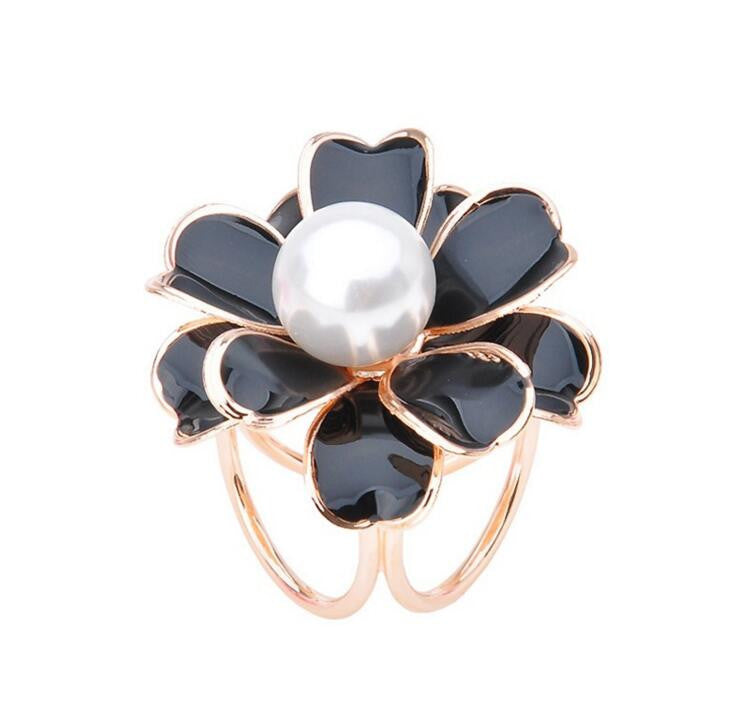 Quality Tricyclic Camellias Imitation Pearl Brooch