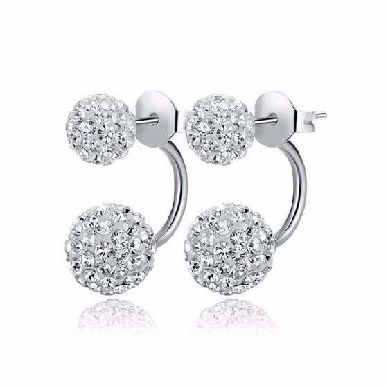 Newly designed Double Sided Synthetic Crystal Ball Stud Earrings