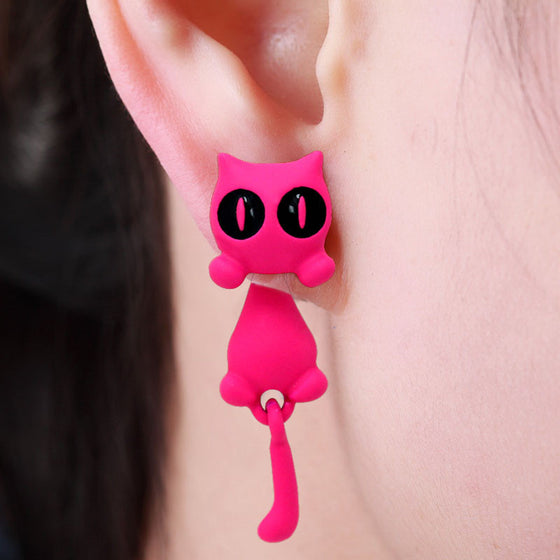 Newly designed 3D Cute Kitty Stud Earrings