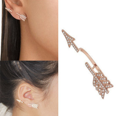 Gold Summer Style Clear Rhinestone Bow and Arrow Stud Earring