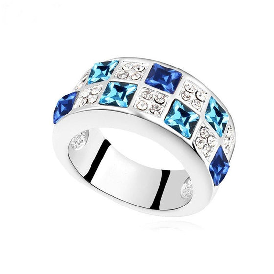 New Design 5 Colors Square Setting Ring Made With Swarovski Elements