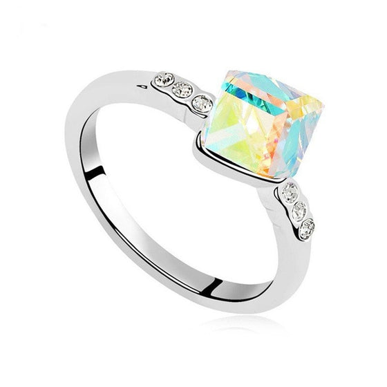 Fashion Cube Crystal Ring Made With Swarovski Elements
