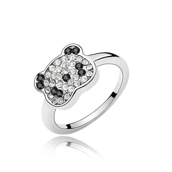 Crystal Panda Ring Made With Czech Crystals For Girls