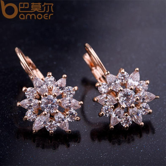 Luxury Gold Flower Stud Earrings with Zircon Stone
