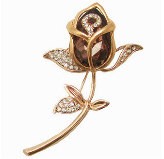 Crystal Gold Rose Flower Brooches