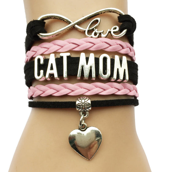 Lovely Handmade Heart Charm Cat Mom Bracelet