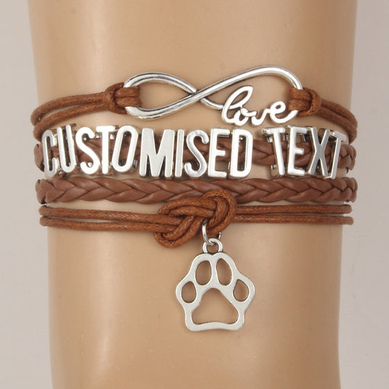 Animal Paw Customized Text Bracelets