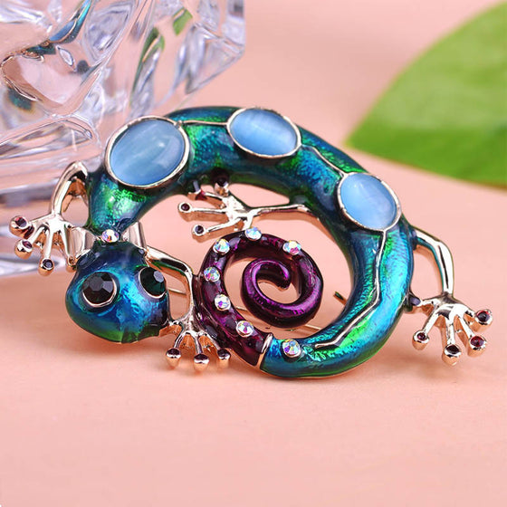 Natural Stone Snake Brooch